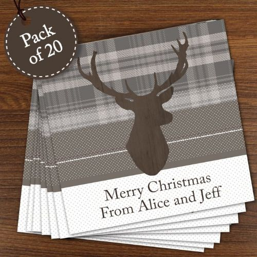 Personalised Highland Stag Pack of 20 Cards